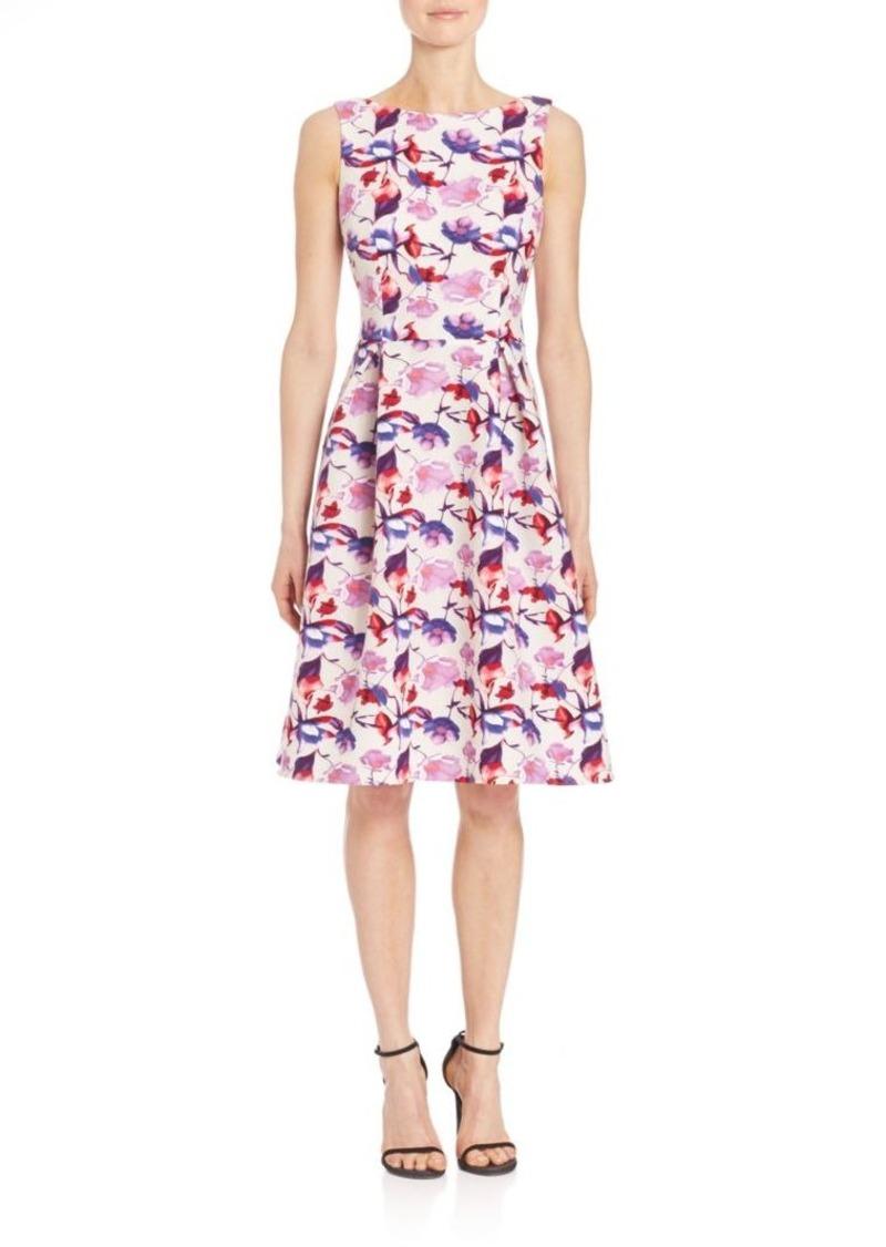 Teri Jon by Rickie Freeman Floral Print Sleeveless Tea Dress