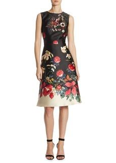Teri Jon by Rickie Freeman Floral Satin Dress