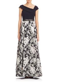 Teri Jon by Rickie Freeman Floral Skirt Embellished Gown