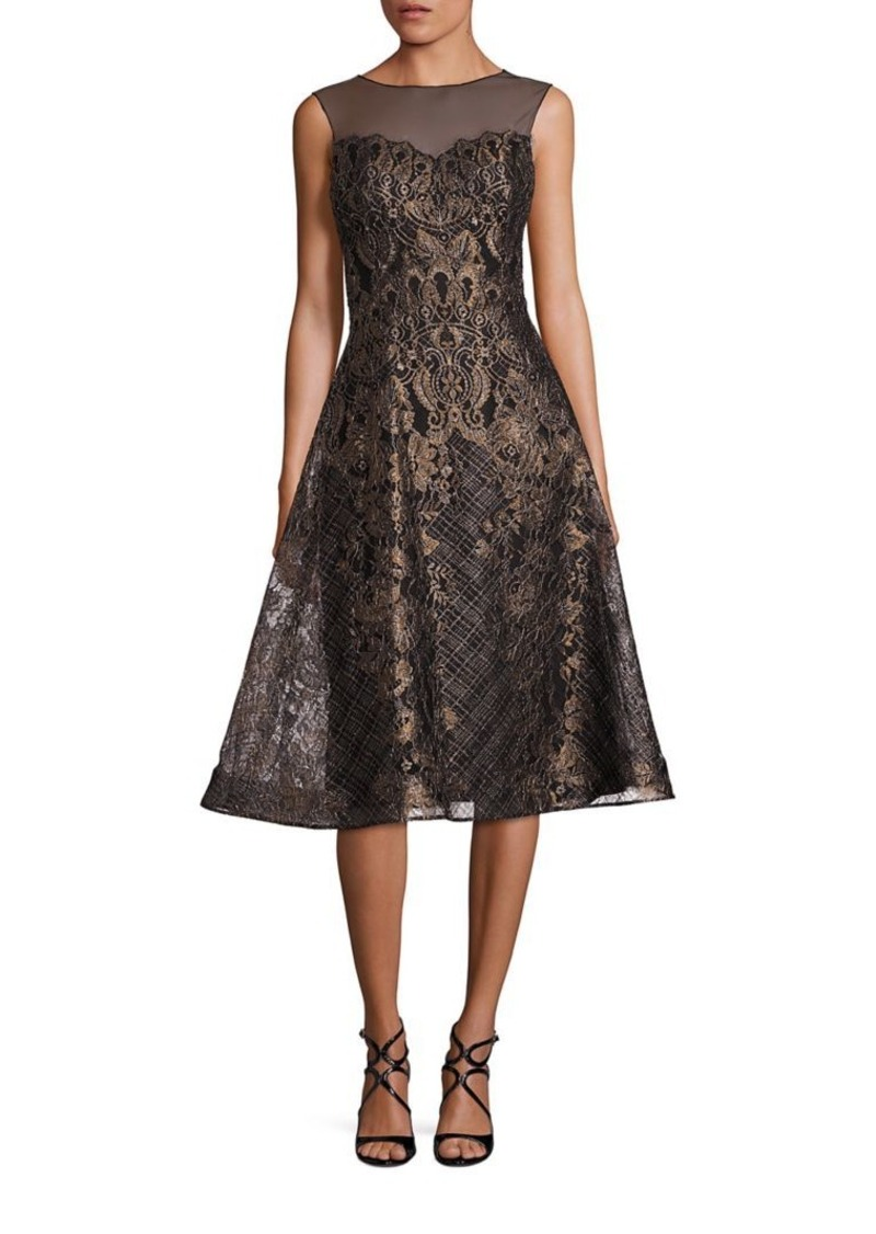 24d825a4f035 Teri Jon Teri Jon by Rickie Freeman Illusion Metallic Lace Dress ...