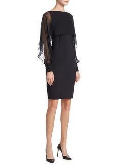 Teri Jon by Rickie Freeman Illusion Sleeve Cape Dress