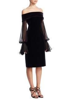 Teri Jon Illusion Bell-Sleeve Velvet Cocktail Dress