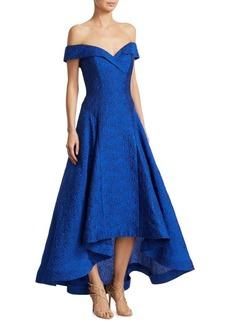 Teri Jon Jacquard Off-The-Shoulder Hi-Lo Gown