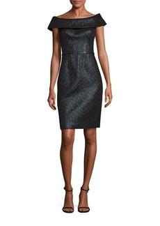 Teri Jon by Rickie Freeman Jacquard Off-The-Shoulder Sheath Dress