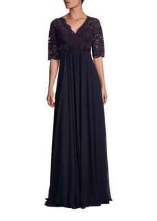 Teri Jon by Rickie Freeman Lace & Chiffon Gown