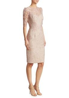 Teri Jon Lace & Jacquard Combo Dress