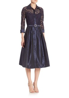 Teri Jon by Rickie Freeman Lace & Taffeta Dress