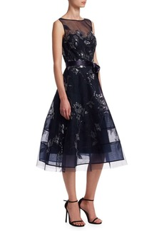 Teri Jon Lace Appliqué Illusion Neckline Tulle Belt Dress