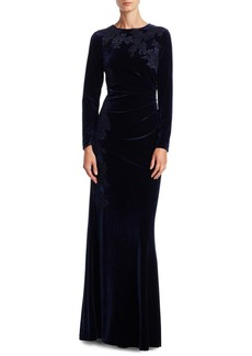 Teri Jon by Rickie Freeman Lace Applique Velvet Gown