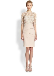 Teri Jon Lace Bodice Illusion Sheath Dress