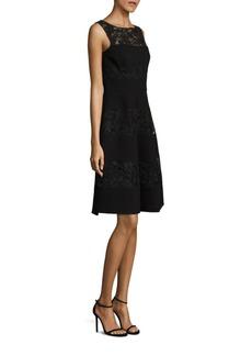 Teri Jon by Rickie Freeman Lace Crepe Combo Dress