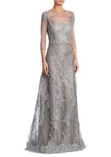 Teri Jon Lace Illusion Evening Gown