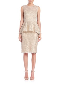 Teri Jon by Rickie Freeman Lace Peplum Sheath