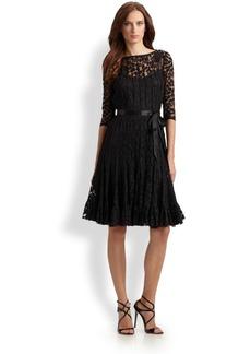 Teri Jon Lace Pintuck Dress