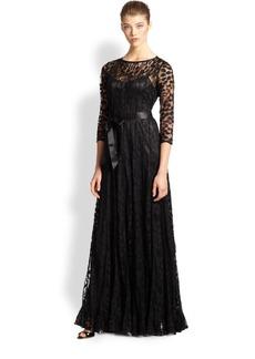 Teri Jon Lace Pintuck Gown