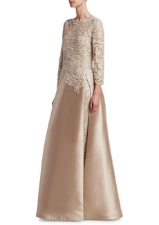 Lace Slit Underlay Gown