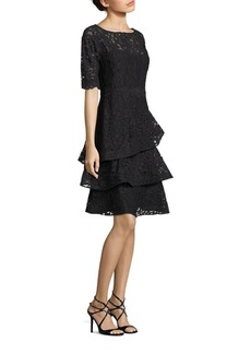 Teri Jon Lace Tiered Ruffle Dress