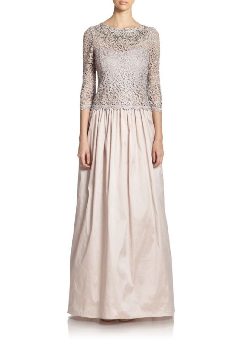 Teri Jon by Rickie Freeman Lace-Top Gown