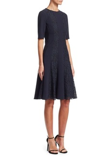 Teri Jon Lace-Trimmed Fit-&-Flare Dress