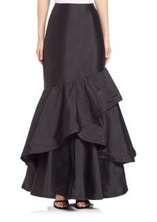 Teri Jon Long Ruffle Taffeta Skirt