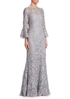Teri Jon Metallic Bell-Sleeve Lace Gown