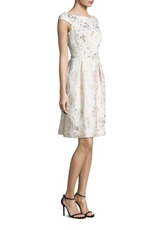 Teri Jon by Rickie Freeman Metallic Floral Jacquard Dress