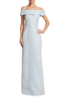 Teri Jon Metallic Jacquard Off-The-Shoulder Gown