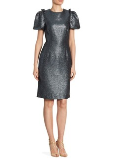 Teri Jon by Rickie Freeman Metallic Puffy Sleeve Knee-Length Dress