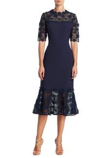 Teri Jon by Rickie Freeman Midi Embroidered Lace Dress