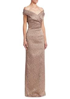 Teri Jon Off-The-Shoulder Column Gown