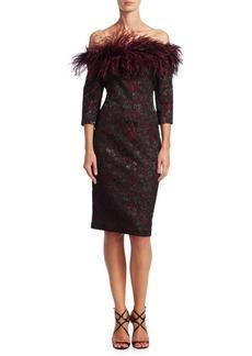 Teri Jon Off-the-Shoulder Feather Dress