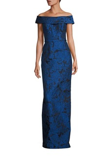 Teri Jon by Rickie Freeman Off-The-Shoulder Floral Jacquard Gown