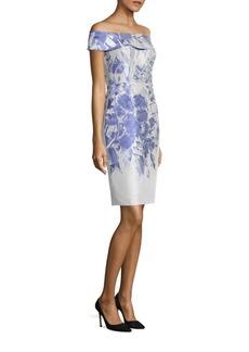 Teri Jon by Rickie Freeman Off-The-Shoulder Floral-Print Dress