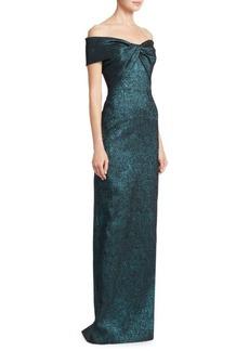 Teri Jon Off-The-Shoulder Front Twist Gown