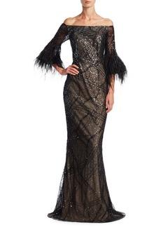 Teri Jon by Rickie Freeman Off-the-Shoulder Mermaid Gown