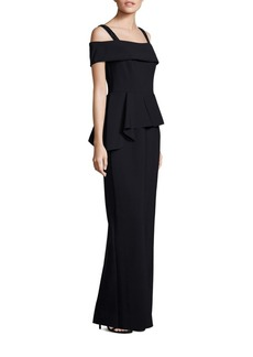 Teri Jon by Rickie Freeman Cold Shoulder Peplum Gown