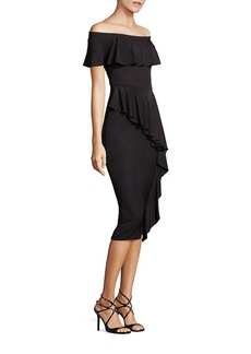 Teri Jon by Rickie Freeman Off-The-Shoulder Ruffle Dress