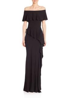 Teri Jon Off-The-Shoulder Ruffle Gown