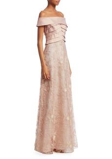 Teri Jon Off-The-Shoulder Sequin Gown