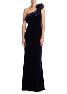 Teri Jon by Rickie Freeman One-Shoulder Ruffle Velvet Gown