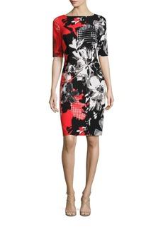 Teri Jon by Rickie Freeman Painterly Floral Printed Bodycon Dress