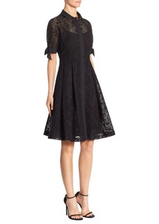 Teri Jon by Rickie Freeman Perforated Cotton Dress