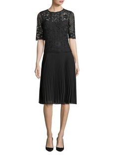 Teri Jon by Rickie Freeman Pleated Lace A-Line Dress