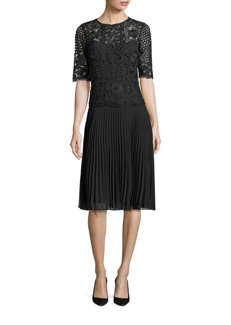 Teri Jon By Rickie Freeman Pleated Lace A Line Dress