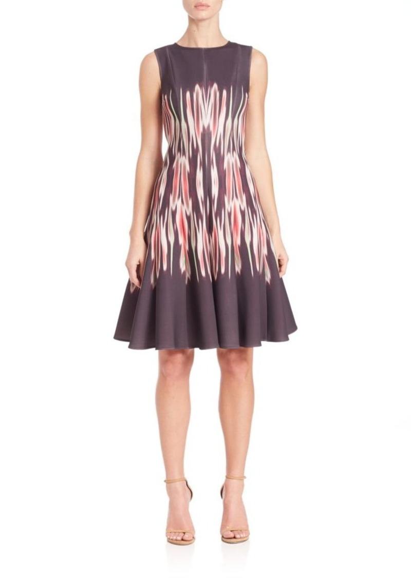 Teri Jon by Rickie Freeman Printed A-Line Scuba Dress