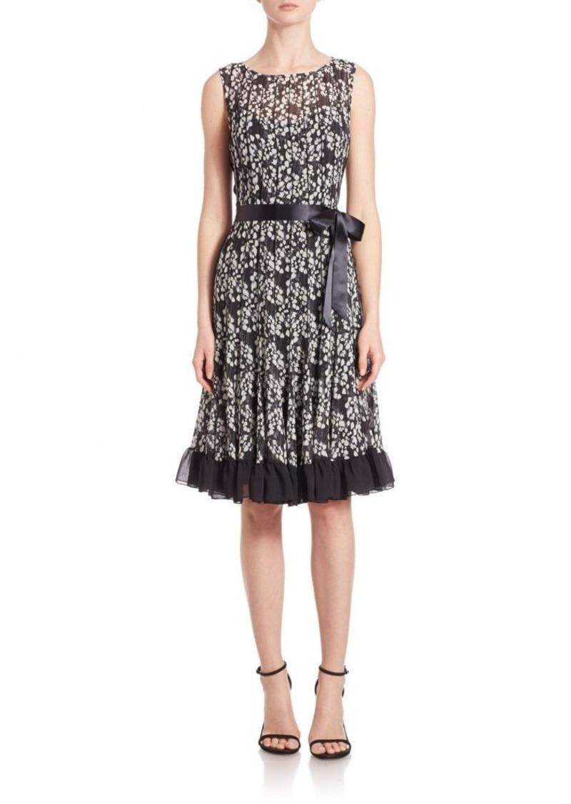 Teri Jon by Rickie Freeman Printed Pintuck Dress