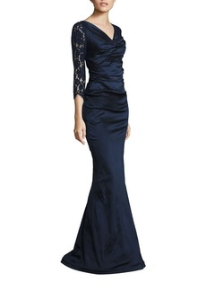 Teri Jon by Rickie Freeman Ruched Lace Gown