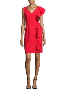 Teri Jon by Rickie Freeman Scuba Asymmetrical Ruffle Dress