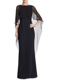 Teri Jon Scuba Gown Chiffon Overlay Dress