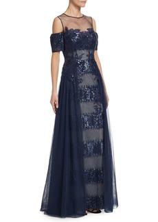 Teri Jon Sequin Lace Cold Shoulder Gown